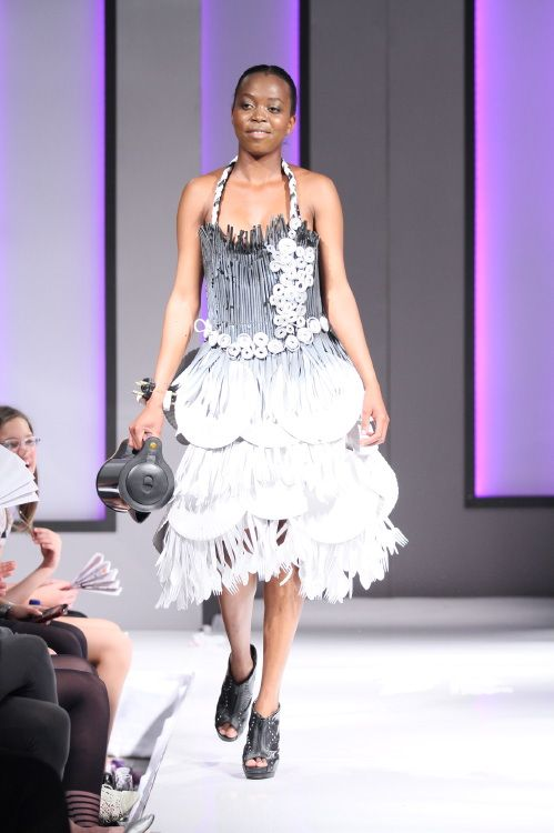 Picnic Perfect dress made from plastic cutlery, drinking straws and paper plates #hoskindesigns #art #avant garde #cocktail #dress #glamour #funky #creative