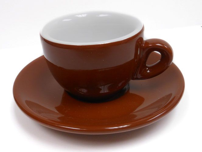 Vintage Brown Lava Ware Pottery Glazed Coffee Expresso Tea Cup Saucer Mug Amazing Design
