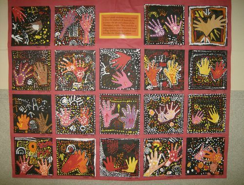 """Aboriginal Hand Dot Paintings. """"We took a virtual tour to Australia, learned a bit about the Aboriginal people and their art work and then used that as inspiration to create our own hand paintings using warm colors and lots of dots."""""""