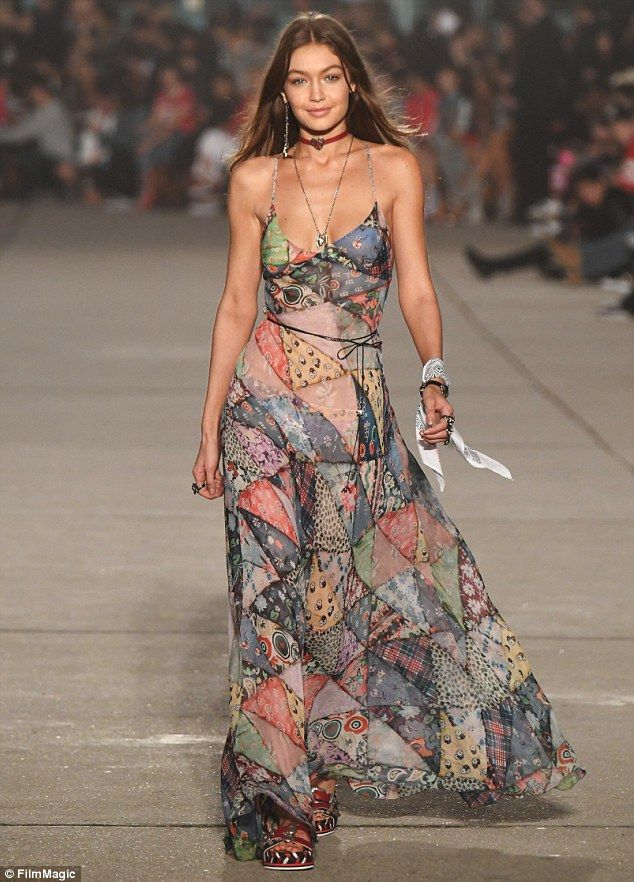 Breathtaking:Gigi opened the runway show, which took place on the Venice Beach boardwalk; pictured walking the runway at the show on February 8