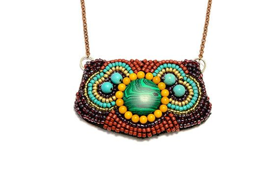 Malachite boho beaded statement necklace by HandmadebyIru on Etsy, €10.00