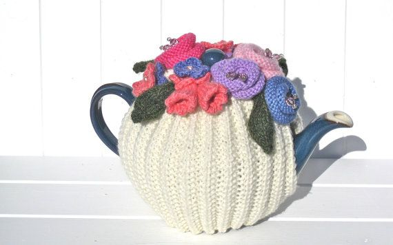 Hand Knitted Tea Cosy, Wool, pearls, beads by RicketyGates