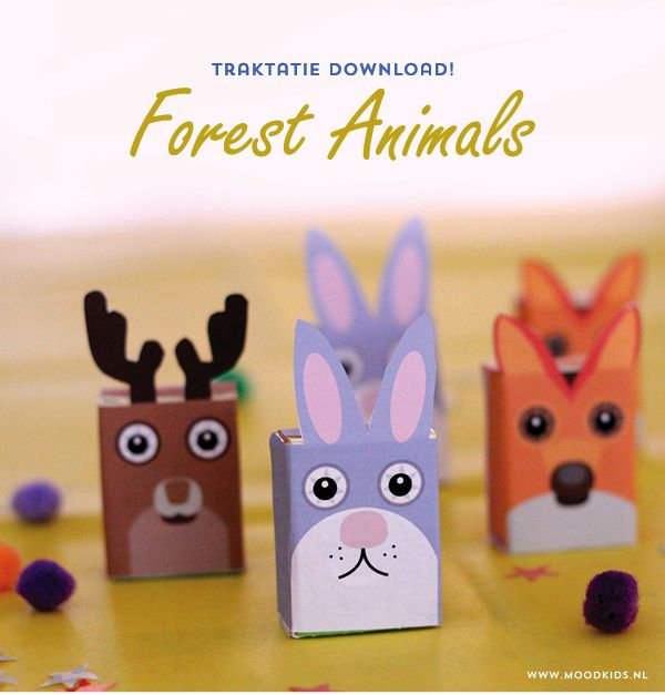 traktatie, trakteren, tips, traktatie idee, bosdieren, rozijnen doosjes, forest animals, download, gratis, free printable, treat, raisins, kids party