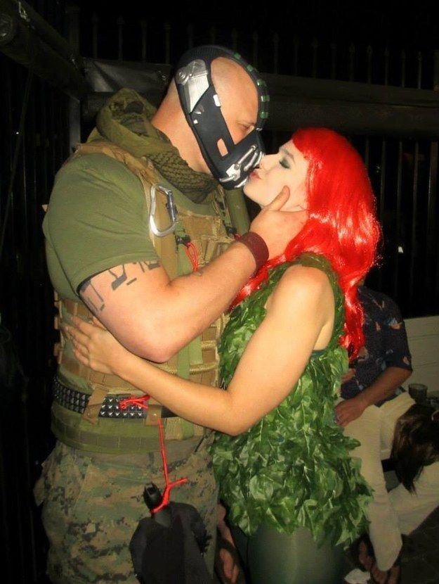 These Poison Ivy and Bane baes | 28 Insanely Clever Halloween Costumes For Your Inner Geek