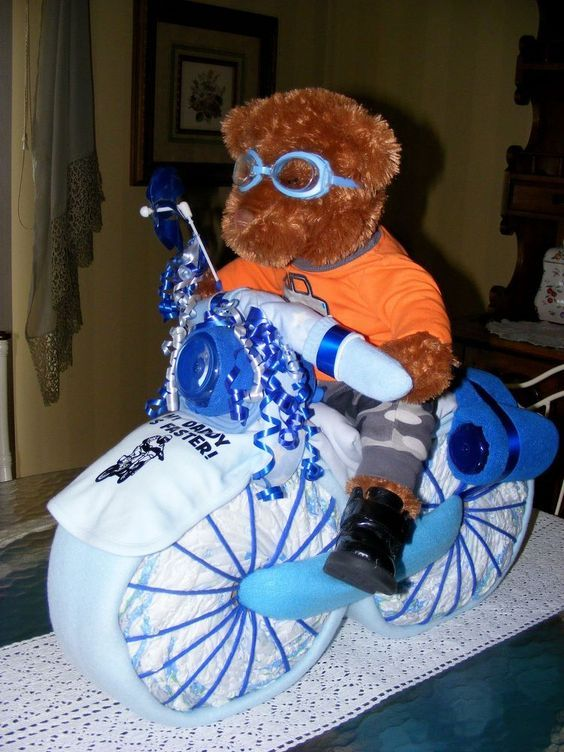 diaper motorcycle baby shower gift, crafts, repurposing upcycling