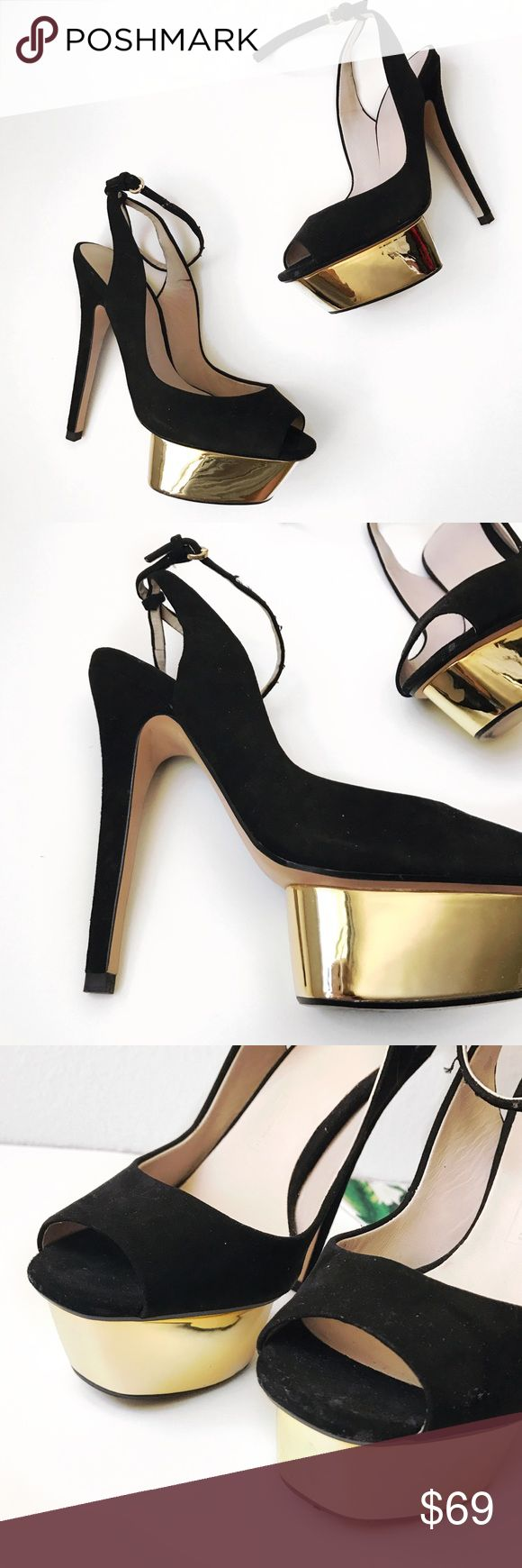 Zara Black Suede Gold Platform Heels Sky high sexy heels with a 2 inch gold platform that makes them stand out and makes the shoes comfortable to walk in. Worn once.  💕Offers welcome on single items and on bundles. Take 20% off your bundle automatically at check out. Happy Poshing!💕 Zara Shoes Heels