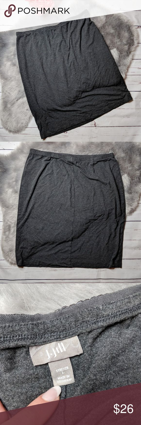 J.JILL • casual grey stretch skirt J Jill stretch cotton blend casual skirt, elastic waistband, knee length, straight fit. Excellent condition, no obvious signs of wear. No pilling, stains, tears or holes.   MEASUREMENTS: Flat waist: 18 in Length: 24 in J. Jill Skirts