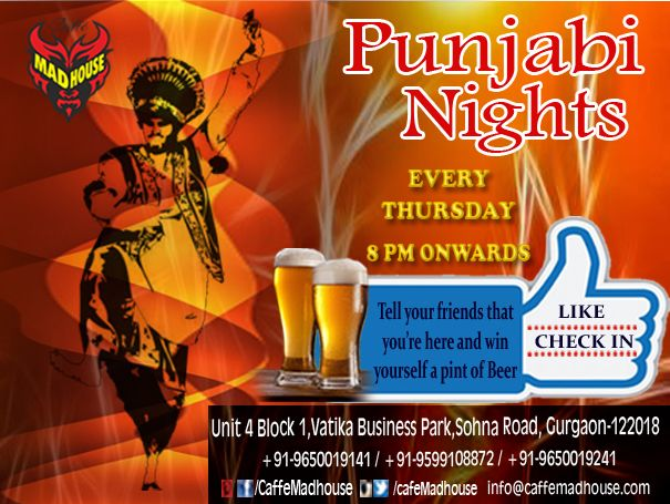 Ring in the early winter with non-stop Punjabi music tonight. What better way to kick off your favorite season than bouncing into it on one of the happiest dance floors in Gurgaon. ‪#‎PunjabiNight‬ ‪#‎BeDesi‬ ‪#‎FunStartsHere‬