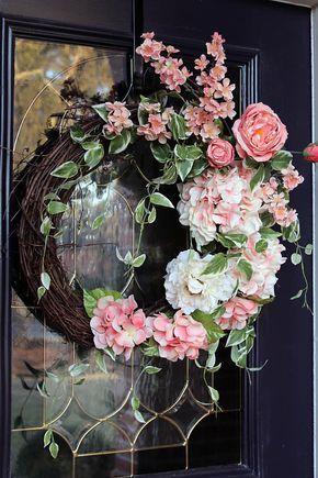 Elegant Spring wreath for front door Peach Hydrangea wreath Front