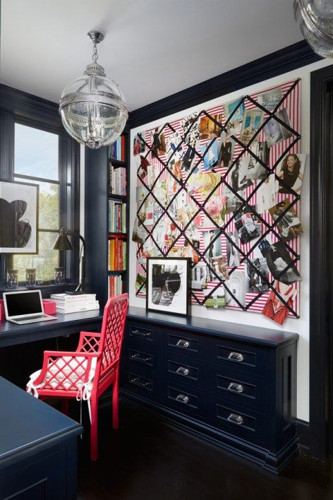 Sophisticated home office with black cabinets by interior designer Megan Winters, via @sarahsarna.