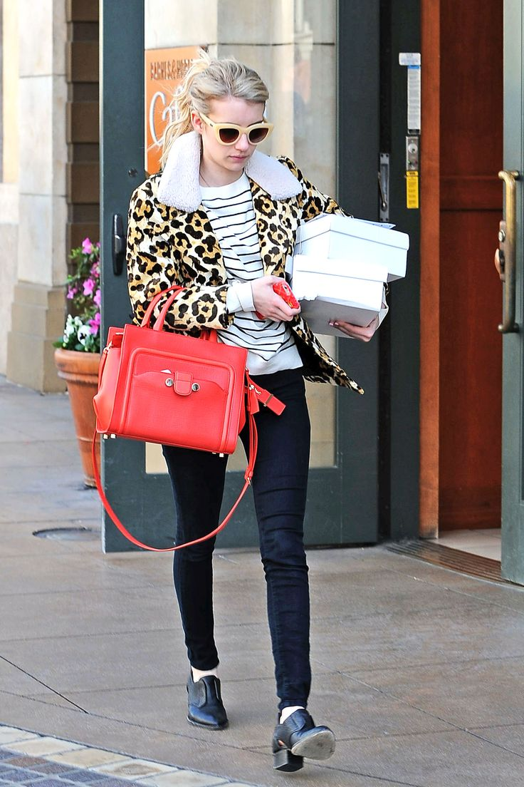 Scarlet and stripes! Emma Roberts shops in Los Angeles on March 4, 2015.   - Cosmopolitan.com