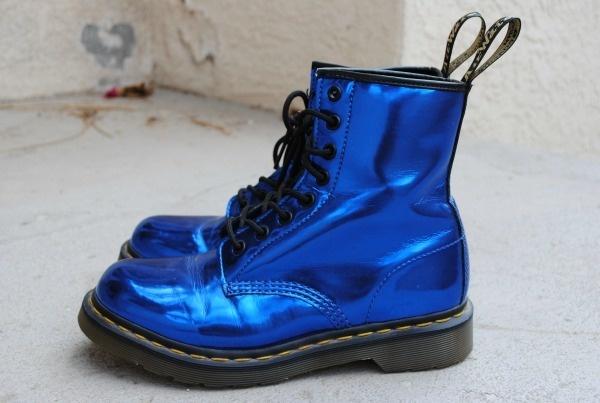 Metallic midnight blue doc martens, looks like blue tin foil, lol