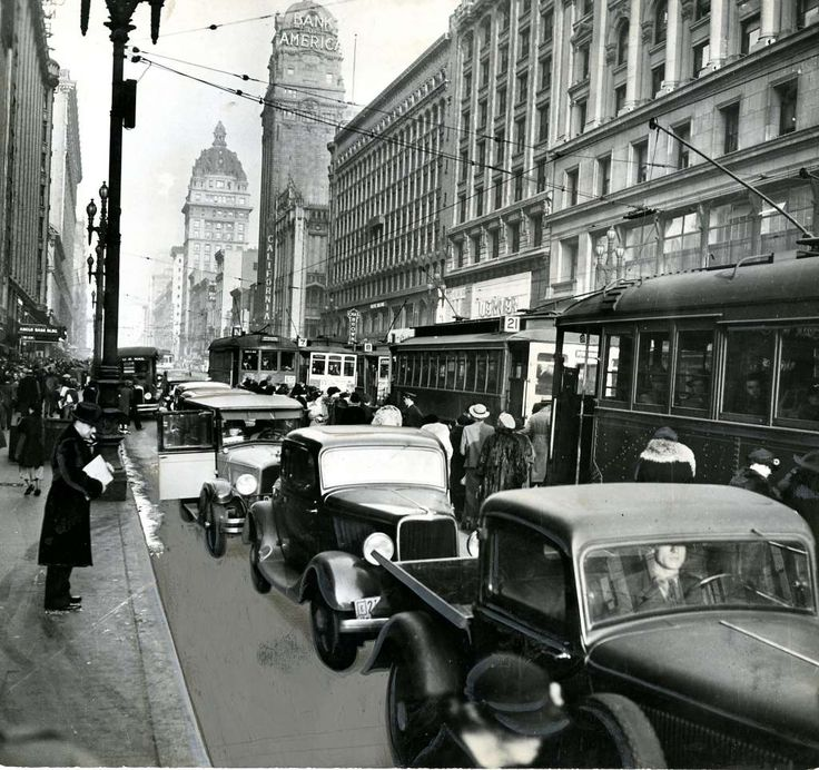 Rare unseen downtown San Francisco photos show city life in the 1930s and 1940s - SFGate Typical San Francisco traffic congestion on Market Street. The Bank of America and Call Buildings can be seen in the photo. October 15, 1937