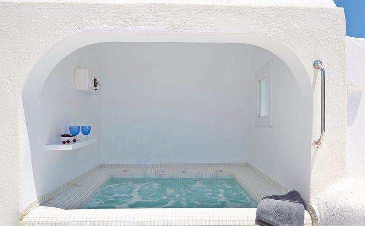 The WINDMILL VILLA Outdoor heated Jacuzzi #Caldera view.    #Santorini #Luxury #Honeymoon #Holidays  Antonis Eleftherakis Photography. All Rights Reserved.