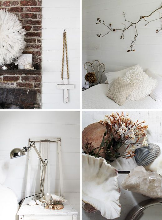 Country cottage white bedroom styling details