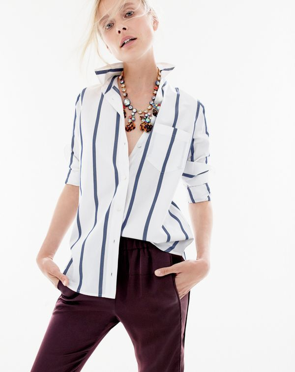 AUG '15 Style Guide: J.Crew women's boy shirt in bold stripe, satin pull-on pant and paillette necklace.