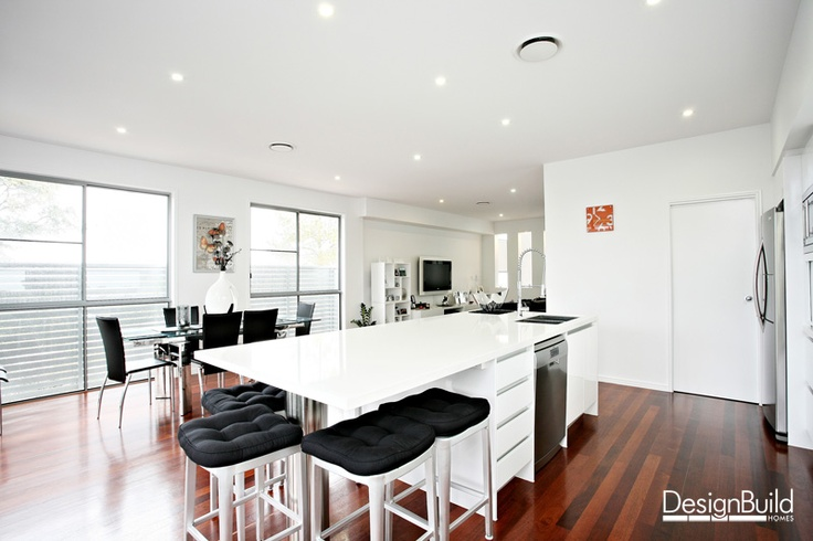 White kitchen with walk in pantry.