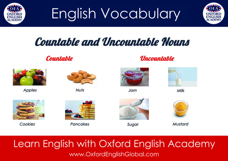 Learn English with Oxford English Academy and Learn English Vocabulary Countable and Uncountable Nouns. Click VISIT for more English learning hints and tips.#oxfordenglishacademy #learnenglish #learnenglishcapetown #englishcourse