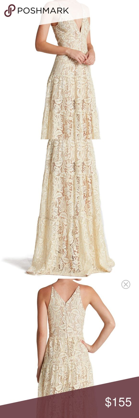 Boho Lace Fit &Flare Maxi Gown Ethereal, romantic, bohemian floral lace gown,  NWT Melina. Lightweight and floating - great quality floral lace with gold threading throughout. Ivory color (last pic shows color contrast (white paper behind to show color). Perfect as a wedding dress, reception, bridal occasion, rehearsal, prom, special event, or formal. Nude underslip and then sheer - but not too revealing - from above the knee to hem. Runs small - most gals size up. Happy to post measurements…