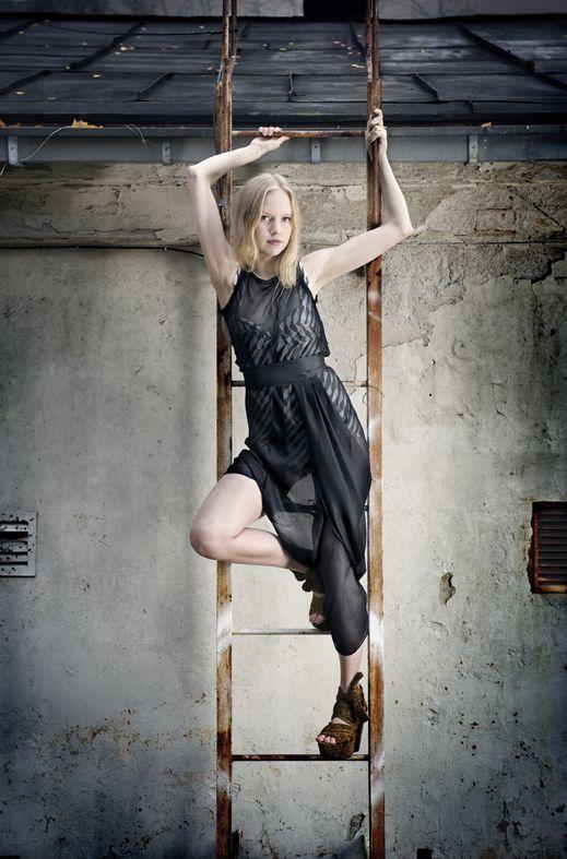 Dead Birds & Lionheart, Jersey body and Silk Muslin dress, http://www.deadbirdslionheart.fi/ #deadbirdslionheart #dress #silk #black
