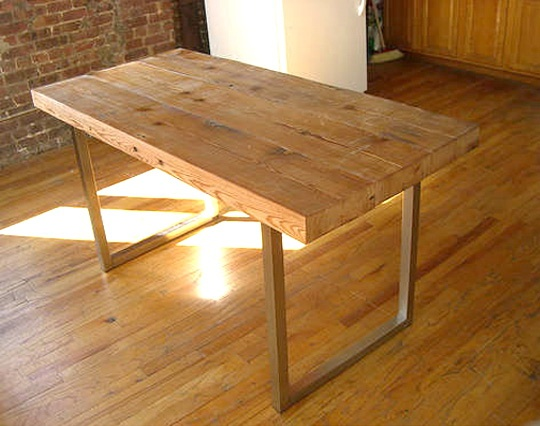 Rustic modern desk metal frame wood top table timber for Reclaimed wood dc