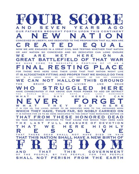 Gettysburg Address. Freedom - so many have died to preserve it. Let everyone remember...