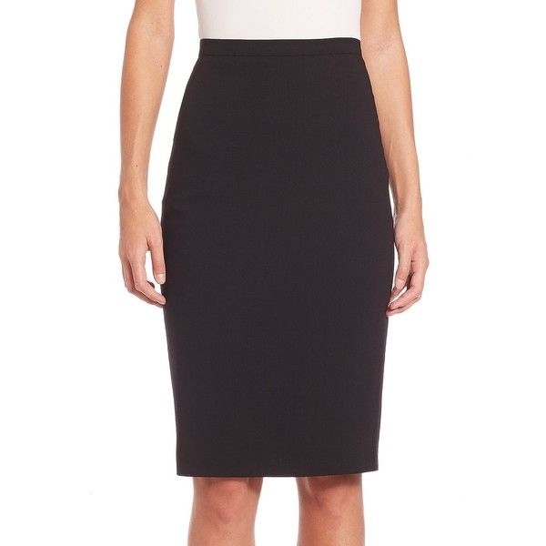 Max Mara Stretch Virgin Wool Pencil Skirt ($190) ❤ liked on Polyvore featuring skirts, black, designer lifest - max mara, pencil skirt, long stretchy skirts, stretchy skirts, long pencil skirt and long stretch skirt