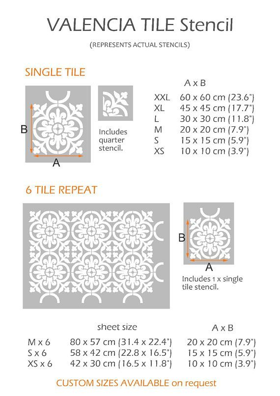 Valencia Tile Stencils for Painting Walls and Floors Custom Sizes Available 15 cm
