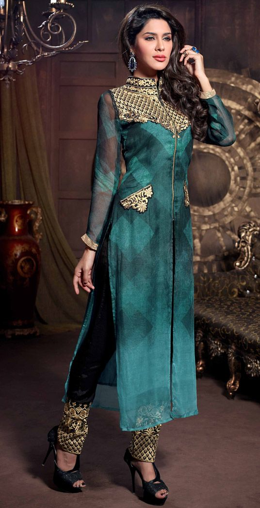 USD 77.17 Teal Pure Georgette Pakistani Style Suit 48281