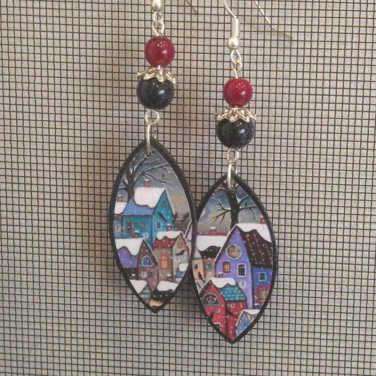 Decoupage Folk Art Winter Earrings by GreyShackStudio on Etsy