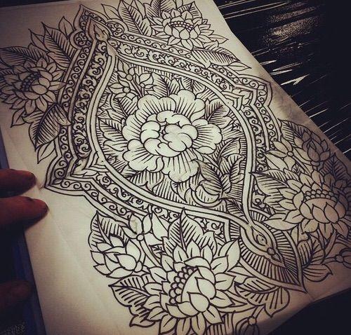 Image via We Heart It #art #artwork #back #draw #flower #hindi #india #indie #piece #tattoo #Tattoos #tattooist