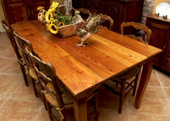 French Style Heart Pine Wide Plank Dining Table From