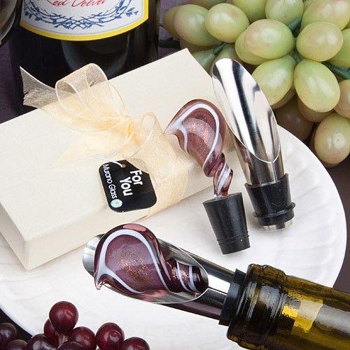 Murano Glass Collection Swirl Design Wine Pourer Stopper
