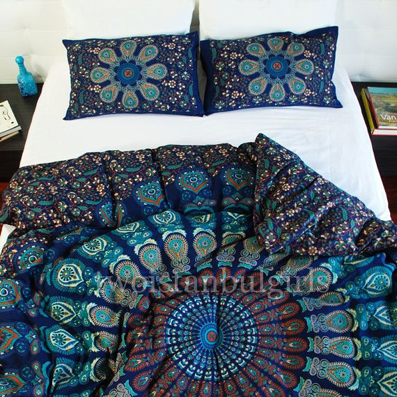 Handmade, Mandala Duvet Cover, Bohemian Duvet Cover, Boho Chic Medallion Duvet Cover Twin Queen or King with Pillowcases