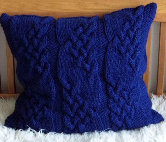 Handknitted Cable Aran Pillow cushion Dark blue by ELITAI on Etsy,