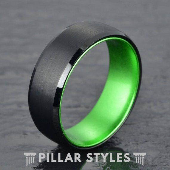 Tungsten Wedding Band Men Thin Green Line Ring Mens Wedding Band Green Tungsten Ring Unique Wedding Ring Mens Ring Military Ring In 2020 Mens Wedding Bands