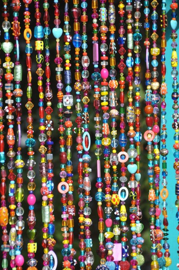 Colorful Bohemian Glass Bead Curtain With Brass Bells Made To