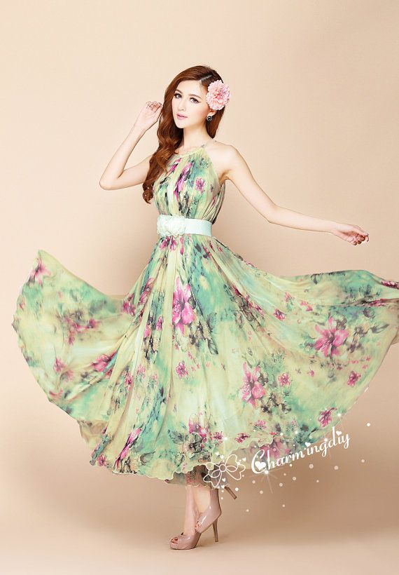 100 Colors Chiffon Flower Long Party Dress Evening by CHARMINGDIY