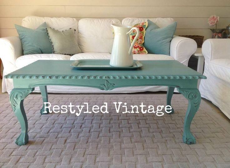 A beautiful coffee table finished in Provence Chalk Paint® decorative paint by Annie Sloan | By Restyled Vintage https://www.facebook.com/media/set/?set=a.823558797672445.1073741928.111043122257353&type=1