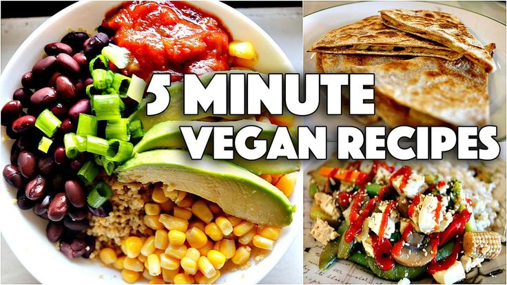 """EASY VEGAN 5 MINUTE RECIPES // FOR COLLEGE STUDENTS. Recipes:  COUSCOUS BURRITO BOWL, MICROWAVE """"STIRFRY"""", PEANUT BUTTER BANANA QUESADILLA."""