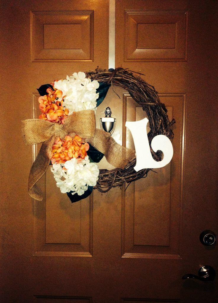 DIY wreath with monogram and burlap!!