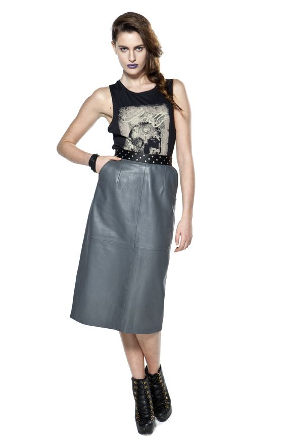 Revamped 80's leather pencil skirt
