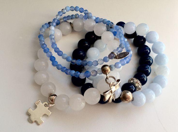 White&blue gemstones (agates&jades) with Silver pendants.