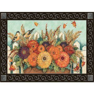 "Garden Gate Doormat by Magnet Works. $18.99. Use MatMates Doormats alone or with the decorative tray (as shown).. MatMates Doormat SIZE: 18"" x 30"".. Vibrant colors, fade-resistant doormats.. Made with non-slip rubber. Weatherproof for outdoor or indoor use.. NOTE: Tray sold separately. TRAY SIZE: 24"" x 36"".. Die-sublimated mat. Non-slip recycled rubber backing with a non woven polyester face. Weatherproof for indoor/outdoor use. Outer tray is sold separately - referenc..."