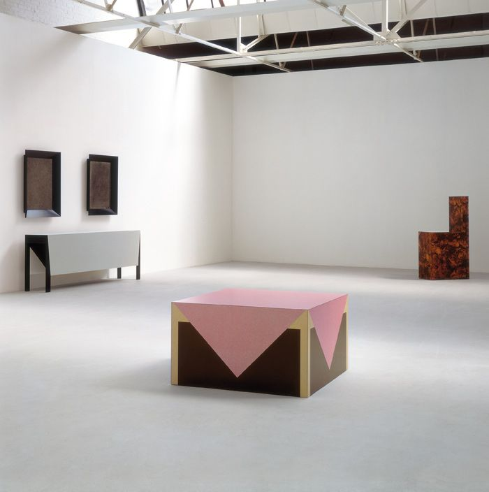 Richard Artschwager - Long Table with Two Pictures 1964, Chair 1966, Table with Pink Tablecloth 1964  Made with Formica and wood.  #Formica #Design #Art