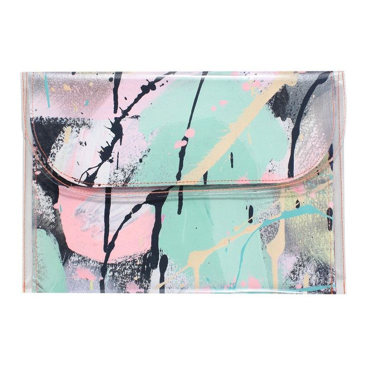 Large hand painted clutch one of a kind