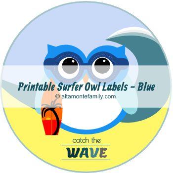 free printable surfer owl labels catch the wave blue | altamontefamily.com