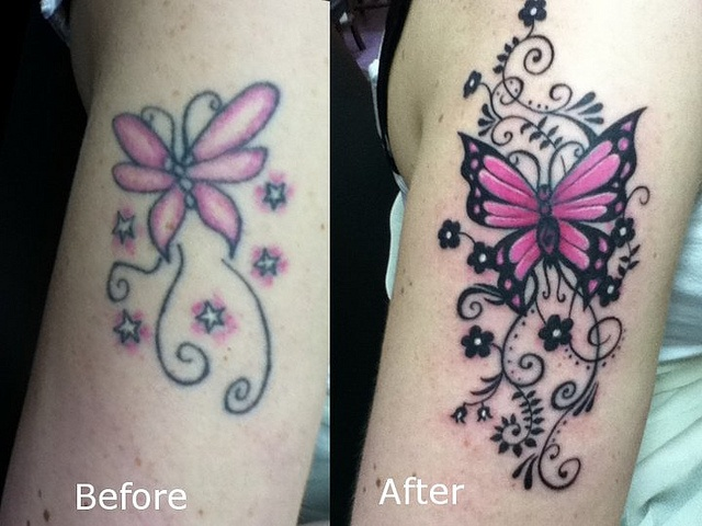 butterfly tattoo coverup / touch up | Cover-Up Tattoo ...