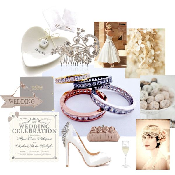 Weddings by socoolcharms on Polyvore featuring Badgley Mischka, Lulu Townsend, Crate and Barrel, J.Crew, Riedel, wedding and Brides