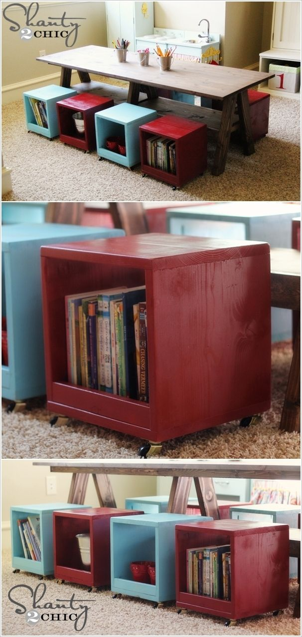 Make This Awesome DIY Table with Rolling Storage Cubes